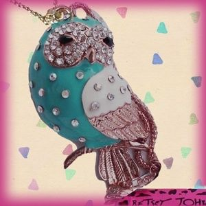 Betsey Johnson Teal Enamel and Crystal Owl